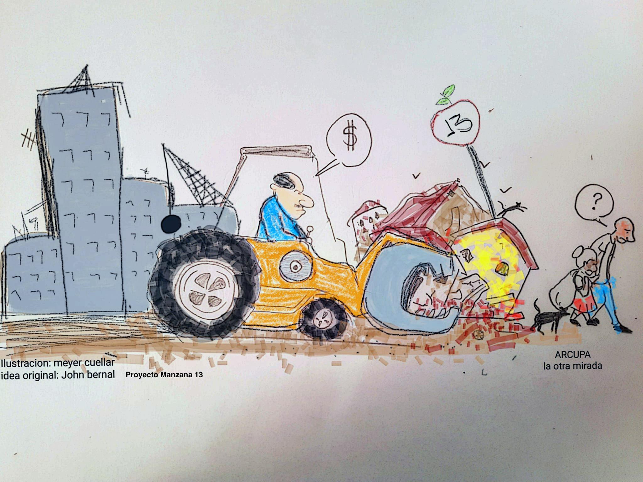 Documento visual del proceso de gentrificación de la Manzana 13, un ejemplar del proyecto artístico de John Bernal para Salon Regional de Artistas, 2018. Ilustración por Meyer Cuellar.